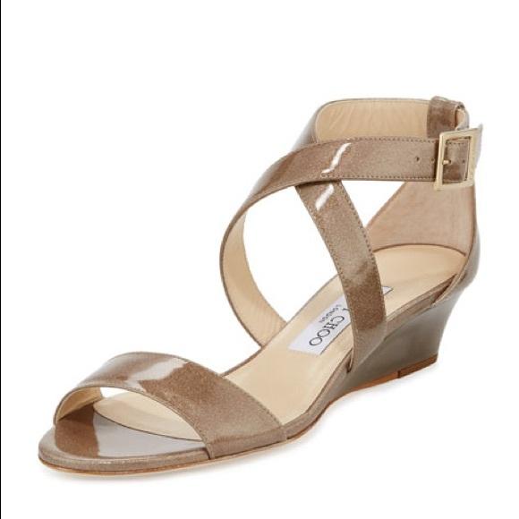 1b3296229e7 JIMMY CHOO Chiara Glitter Crisscross Wedge Sandal